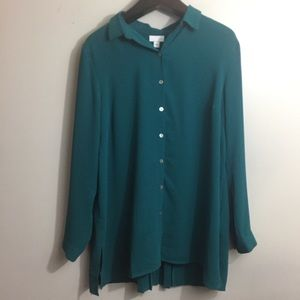 J. Jill button Down tunic blouse. Teal. Large